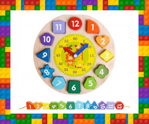 Wooden clock small toy